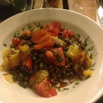                    Lentil salad with orange, tomato, pickled something.  Tasty and Healthy