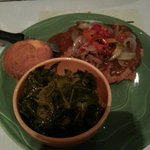 country fried steak w/peppers and onions with collard greens