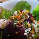 roast beetroot ,local handmade fetta, pistachio and merri-gold salad was amazi