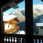 View of surrounding mountain from chalet lounge