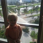 my son grandson with view in background