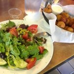 tossed salad and fried mushrooms
