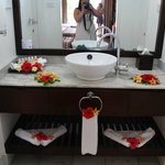 Our bathroom beautifully decorated with fresh flowers.
