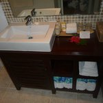                    bathroom, very clean = some slow drainage issues in shower only became a bigge