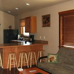 Our largest cabins feature an open-plan living area with full-size kitchen.