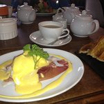                    Eggs Benedict with looseleaf tea