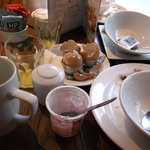 table full of empty breakfast dishes.