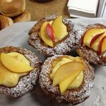 still warm fresh peach muffins