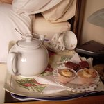 A welcome tray of tea and cakes on arrival