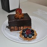 Dark Chocolate covered Mousse Cake and Berry Custard Tart