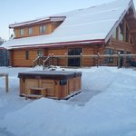                    Main lodge and hot tub