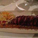 Duck breast with blood orange sauce, risoto andblood orange and fennel