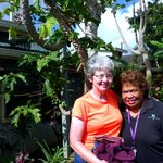 Linda with Mokihana next to papaya tree
