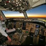 At the controls of a 'commercial airliner'