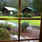 View thru kitchen window of Phylis cabin