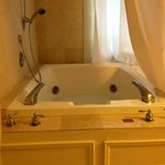                    oversize jacuzzi tub set in marble floor