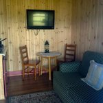  cabin 1 living area new knoty pine walls