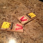 Here at the mouse traps that were given to us to chase the mice