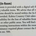                                      Hotel advice regarding safe