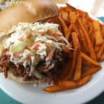 Pulled pork with coleslaw and sweet potato fries