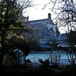 Cartmel Priory from terrace outside Garden Suite