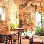 Breakfast and dining area with nice Haitian art