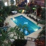 Heated atrium with pool & spa.