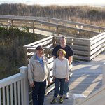 Hubby and friends on path to beach