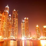 The Dubai Marina at night, shopping and dining 5 minutes walk from the hotel.