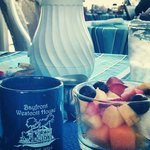 Fresh fruit cup and coffee with my breakfast