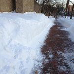 Side walk groomed of snow