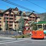 Red trolley in front of the Bear Skin Lodge