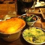 Game Pie with Cauliflower cheese, kale & bacon and bubble & squeak, all delici