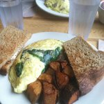 Florentine Omlette, home fries, wheat toast