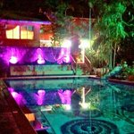  Night view of the main pool area