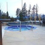 One of the two outdoor hot tubs