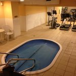 Hot tub and work out room in the basement