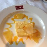                                      pineapple parfait with mango coulis