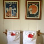                   Plush towels, vintage charm