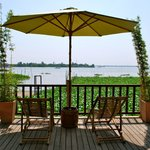 Restaurant deck with view of the Mekong River