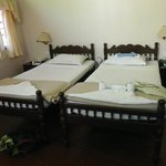                    The beds in our twin room with en suite.