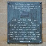 Oakham Castle Plaque