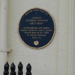                    Lewis Carroll blue plaque on the wall outside