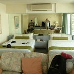  This is the sleeping/living area of our room.  The kitchen is off to the side