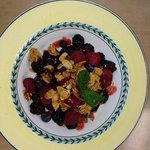 fresh berries with sweetened sliced peanuts--yummy