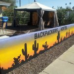 Camelbackpackers outside shaded or full sun patio