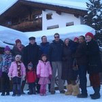 Family group in front of Chalet Runca awaiting the horse carriages