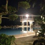 Night time view of pool.
