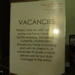                    Signage to inform no staff at the front desk
