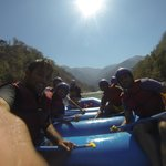 Rafting right in front of camp